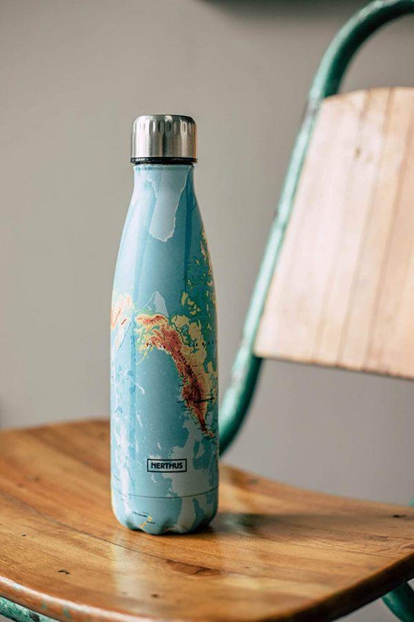 botella termo inox mapa mundi