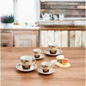 juego cafe 6 tazas muffin